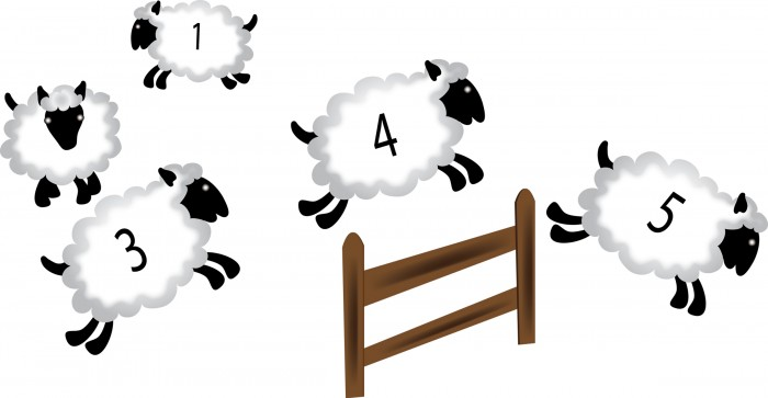 Clip Art Illustration of a Numbered Sheep Jumping Over a Fence